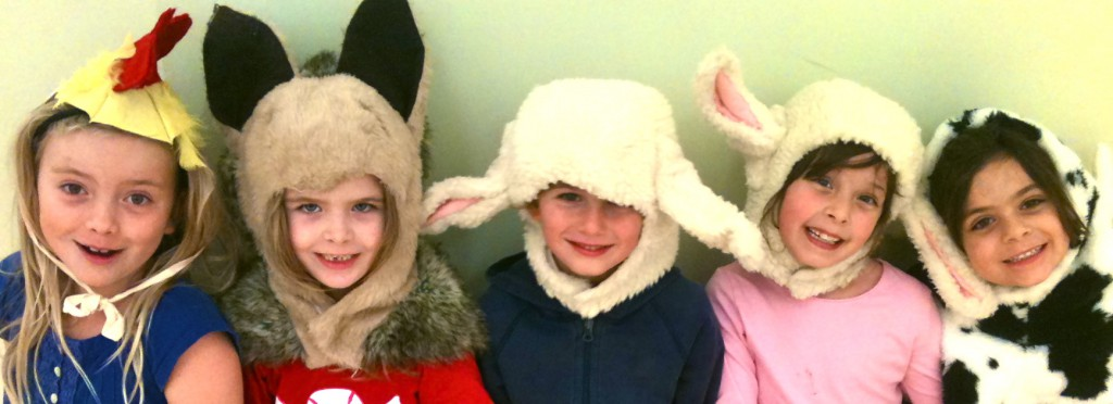 Children with animal hats