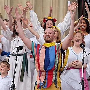 Danny Pushkin as the May Fool (photo by Pete Gochman)