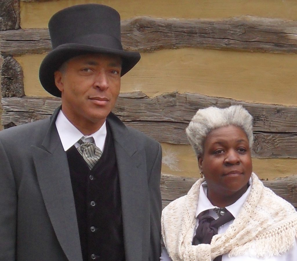 Jubilee Voices members Harold and Andrea Blackford portray Enoch George Howard and Harriet Howard at Oakley Cabin.